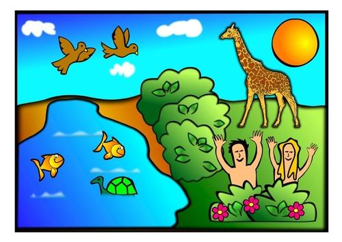 Manualidades Adán y Eva escena 1