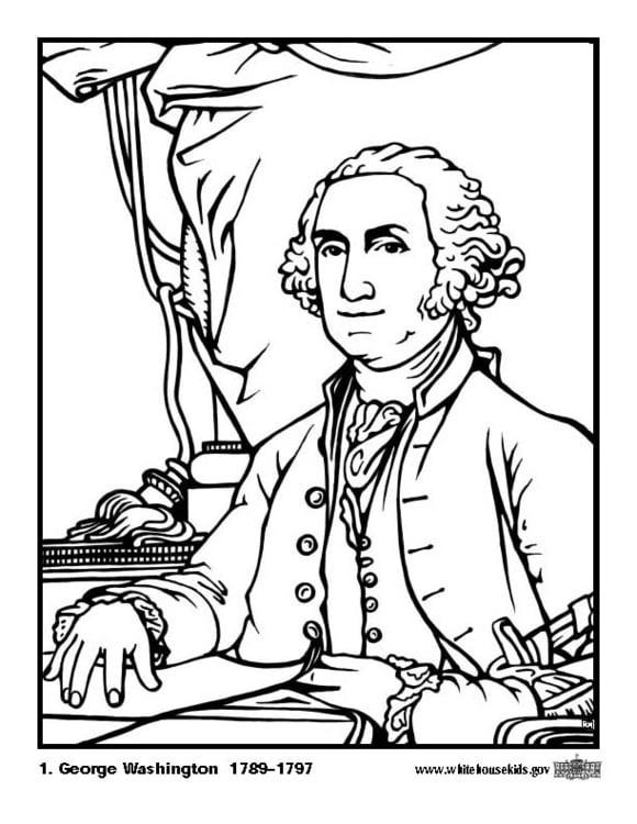 Dibujo para colorear 01 George Washington - Img 12582