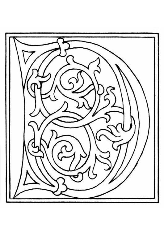 Dibujo para colorear 01a. alfabeto D - Img 11248