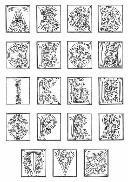 Dibujo para colorear 01a. alfabeto de finales del siglo XV - Img 11249