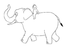 Dibujo para colorear 07.b Elefante con persona