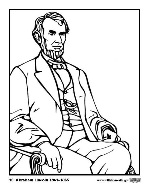 Dibujo para colorear 16 Abraham Lincoln - Img 12640