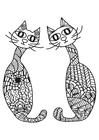 Dibujo para colorear 2 gatos
