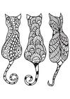 Dibujo para colorear 3 gatos