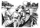 Dibujo para colorear 3 hombres en un barco