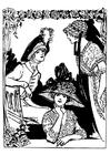 Dibujo para colorear 3 mujeres con sombrero