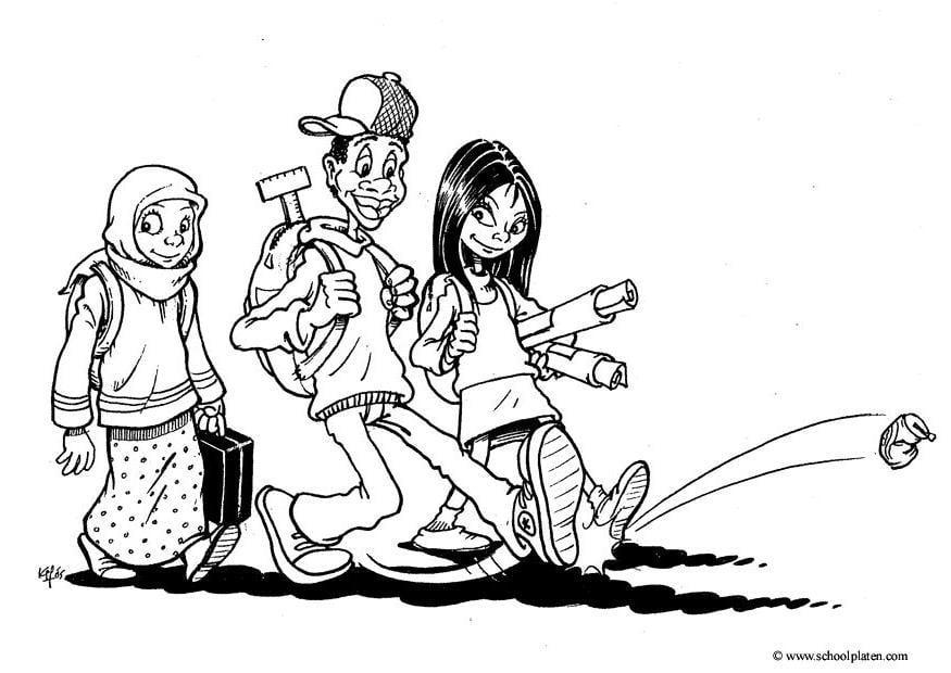Colorear NiÑos Del Mundo: Dibujo Para Colorear 3 Niños Del Mundo
