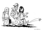 Dibujo para colorear 3 niños del mundo