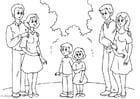Dibujo para colorear 3. padres con nueva pareja