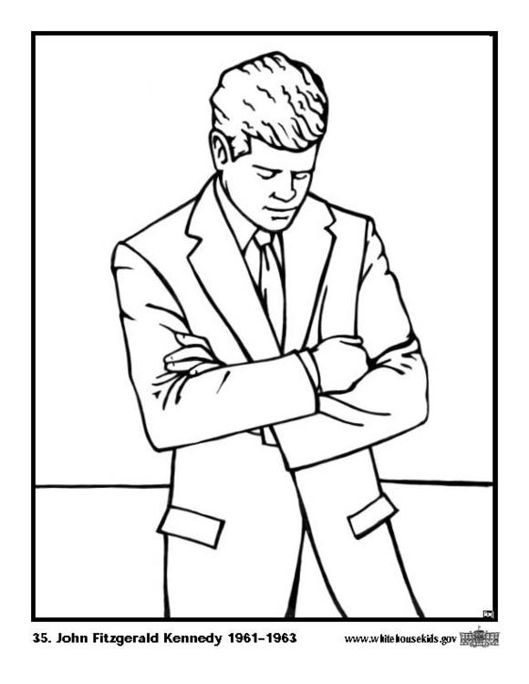 Dibujos Para Colorear Presidente John F Kennedy Es