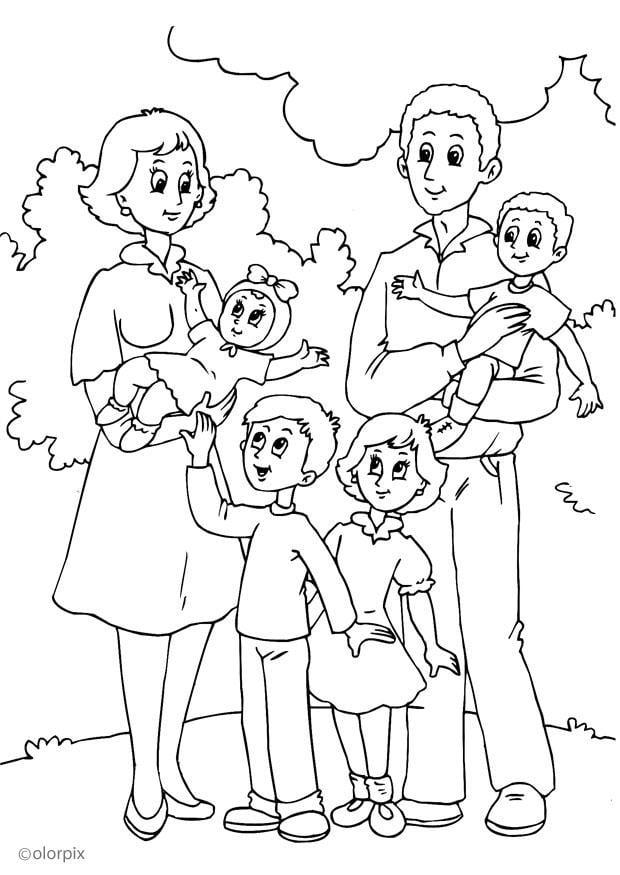 Dibujo para colorear 4 nueva familia