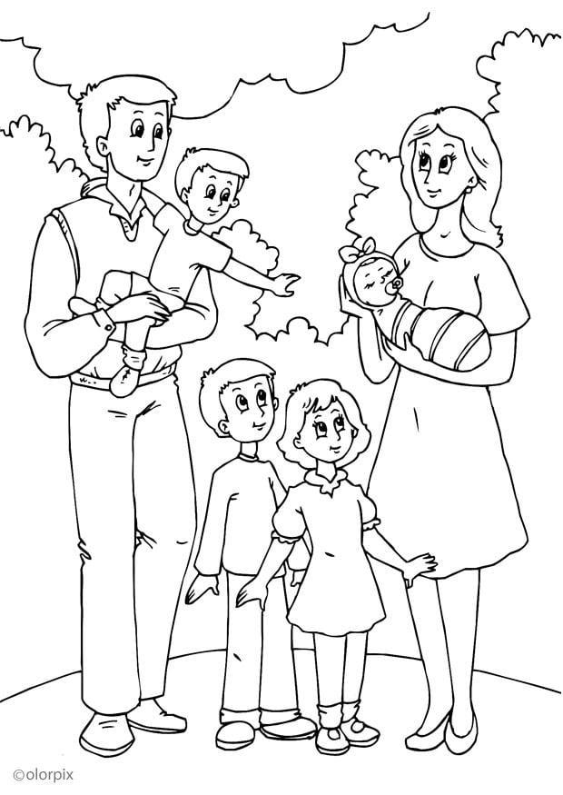 Dibujo para colorear 5 nueva familia con el padre  Img 25991