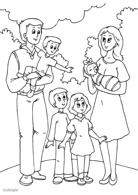 Dibujo para colorear 5. nueva familia con el padre - Img 25991