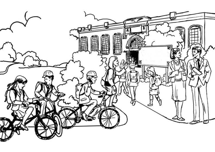 Dibujo para colorear A la escuela - educación primaria - Img 8047