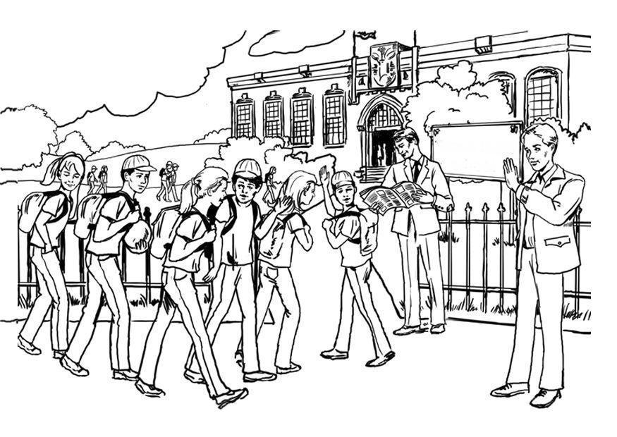 Dibujo para colorear A la escuela - educación secundaria - Img 8048