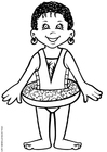 Dibujo para colorear Abebi nadando