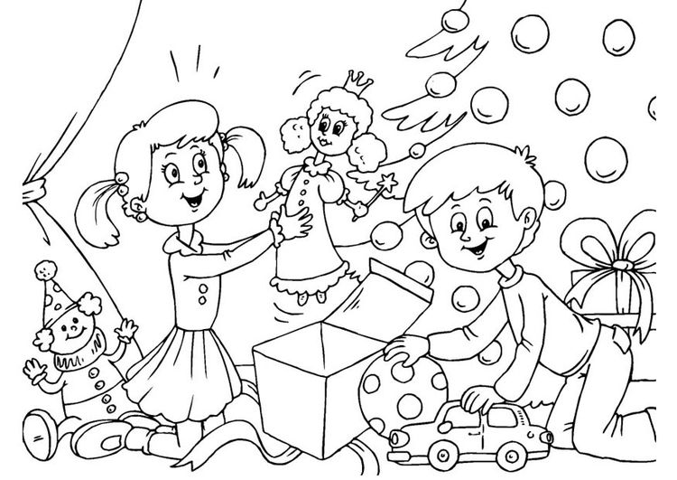 Niño Abriendo Un Regalo Dibujos Para Pintar: Dibujo Para Colorear Abrir Los Regalos