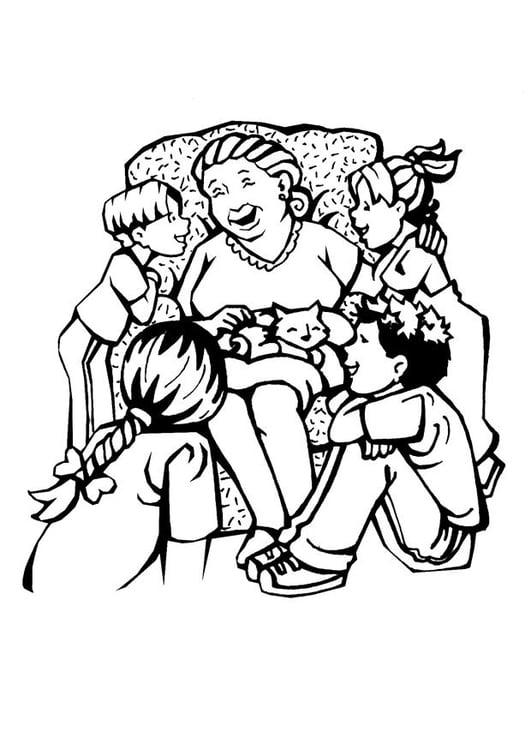 Dibujo Para Colorear Abuela Día De La Madre Img 7105