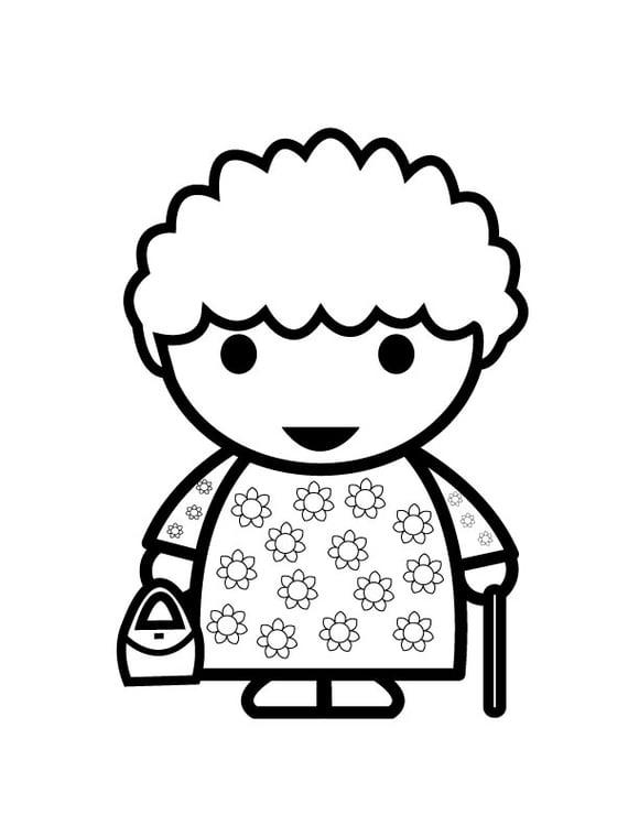 Dibujo para colorear abuela - Img 26876