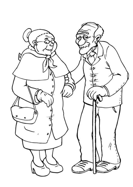 Dibujo para colorear abuela y abuelo - Img 23105