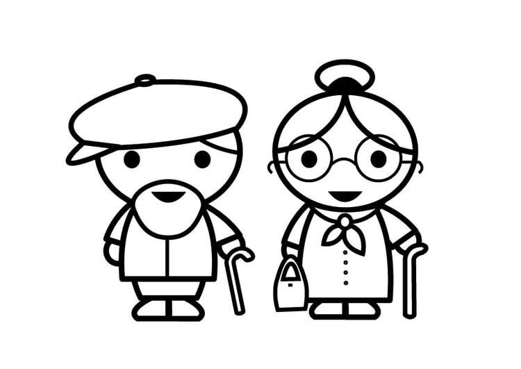 Dibujo para colorear abuela y abuelo - Img 26879