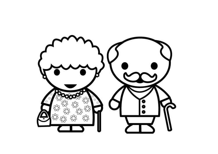 Dibujo para colorear abuela y abuelo - Img 26881