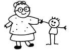 Dibujo para colorear abuela y niño