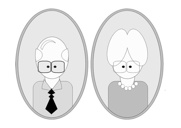Dibujo para colorear abuelo y abuela - Img 25560