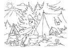 Dibujo para colorear acampar