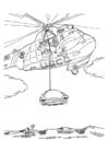 Dibujo para colorear Acción de salvamento con helicóptero