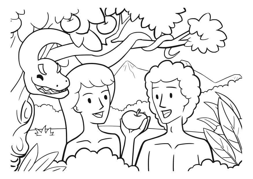 Fantástico Colorear Adán Y Eva Composición - Dibujos Para Colorear ...