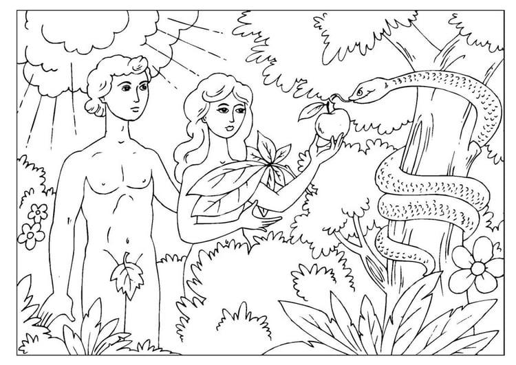 Dibujo para colorear Adán y Eva - Img 25966