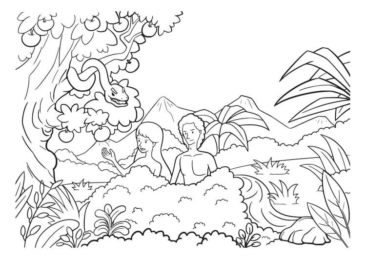 Dibujo para colorear adán y eva - Img 29826