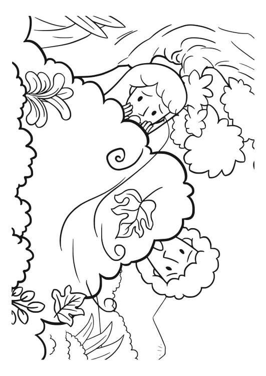 Dibujo para colorear adán y eva - Img 29831