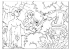 Dibujo para colorear Adán y Eva