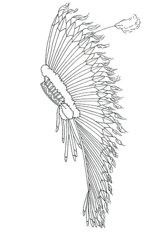 Dibujo para colorear Adorno para la cabeza con plumas - Img 18244