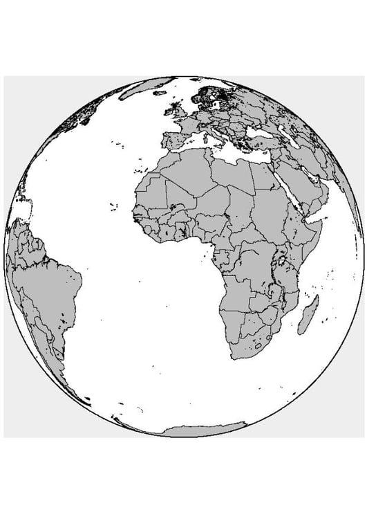 Dibujo para colorear África - Europa - Img 8313