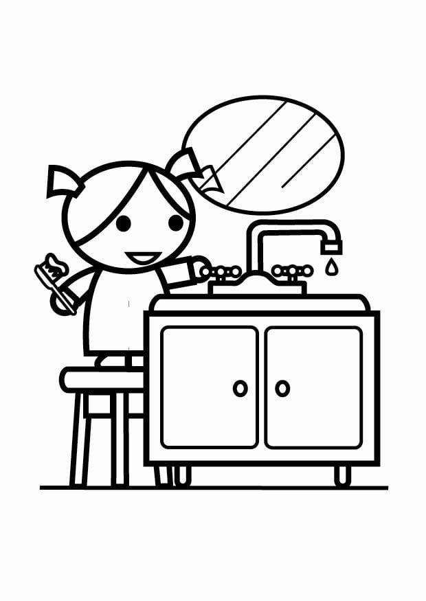 Dibujo para colorear ahorrar agua cerrar el grifo for Cosas para ahorrar agua
