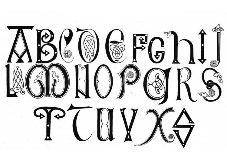 Dibujo para colorear Alfabeto anglosajón de los siglos XVIII y IX ...