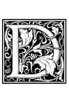 Dibujo para colorear alfabeto decorativo - D