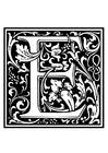 Dibujo para colorear alfabeto decorativo - E