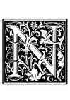 Dibujo para colorear alfabeto decorativo - N