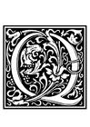Dibujo para colorear alfabeto decorativo - Q