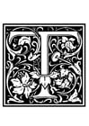 Dibujo para colorear alfabeto decorativo - T