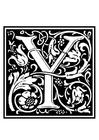 Dibujo para colorear alfabeto decorativo - Y