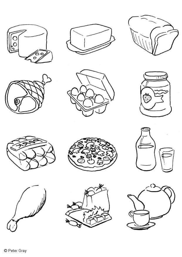 dibujo para colorear alimentaci u00f3n
