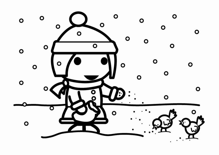 Wintervogels Kleurplaat Dibujo Para Colorear Alimentar P 225 Jaros En La Nieve