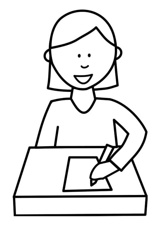 Dibujo Para Colorear Alumna Escribiendo Dibujos Para Imprimir Gratis