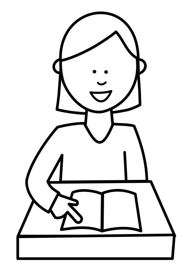 Dibujo Para Colorear Alumna Leyendo Img 18736 Images