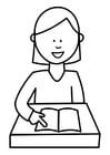 Dibujo para colorear alumna leyendo